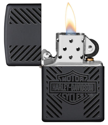 Harley-Davidson® Classic Logo Black Matte Windproof Lighter with its lid open and lit