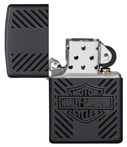 Harley-Davidson® Classic Logo Black Matte Windproof Lighter with its lid open and not lit