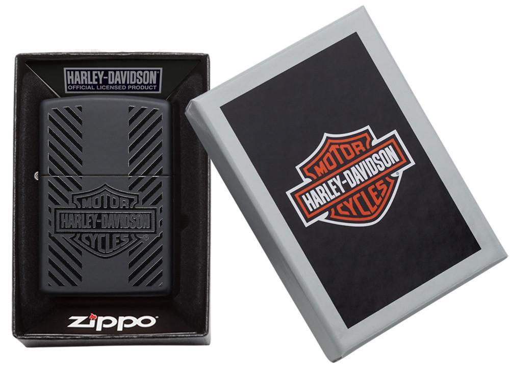 Harley-Davidson® Classic Logo Black Matte Windproof Lighter in its packaging