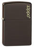 Brown Zippo Logo windproof lighter facing forward at a 3/4 angle