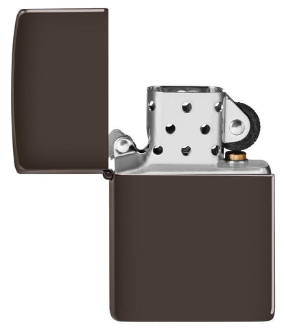 Brown windproof lighter with the lid open and not lit