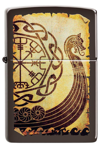Front of Viking Warship Design Brown Matte Windproof Lighter
