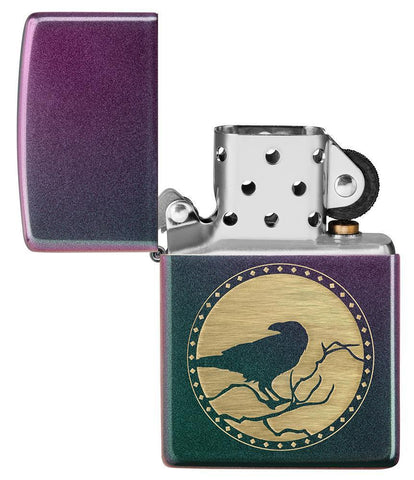 Raven Design Iridescent windproof lighter with its lid open and not lit