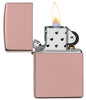 High Polish Rose Gold windproof lighter with the lid open and lit