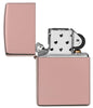 High Polish Rose Gold windproof lighter with the lid open and not lit