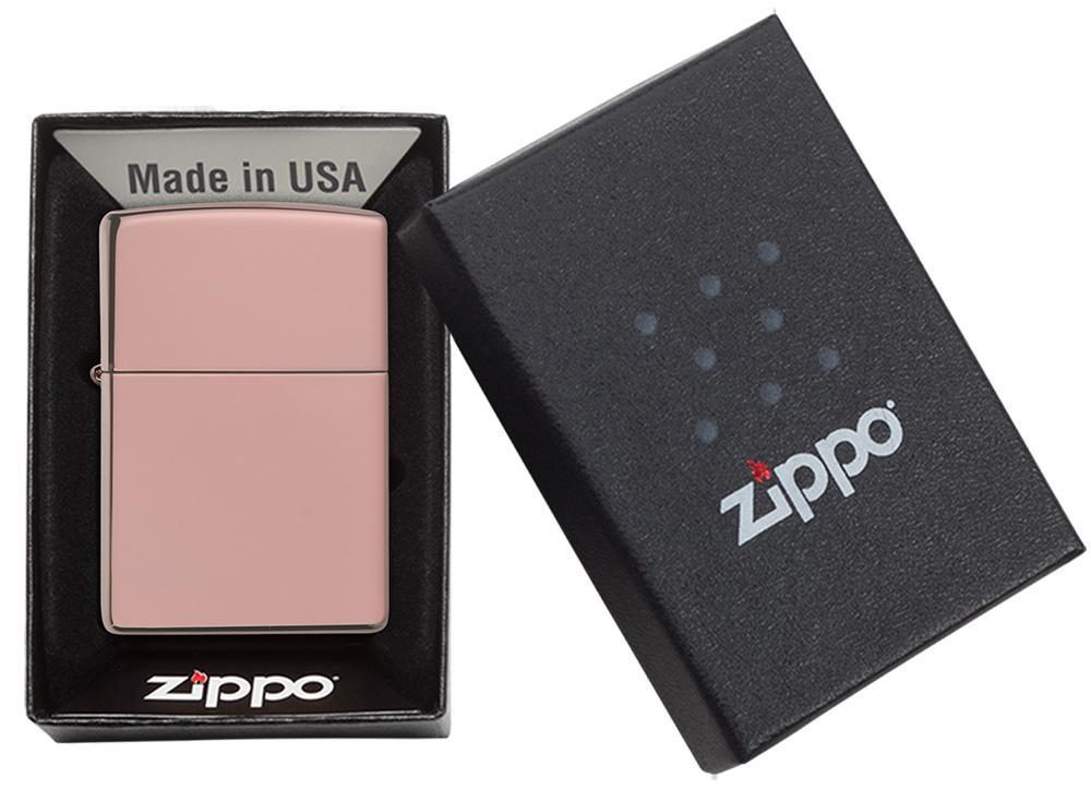 High Polish Rose Gold windproof lighter in packaging