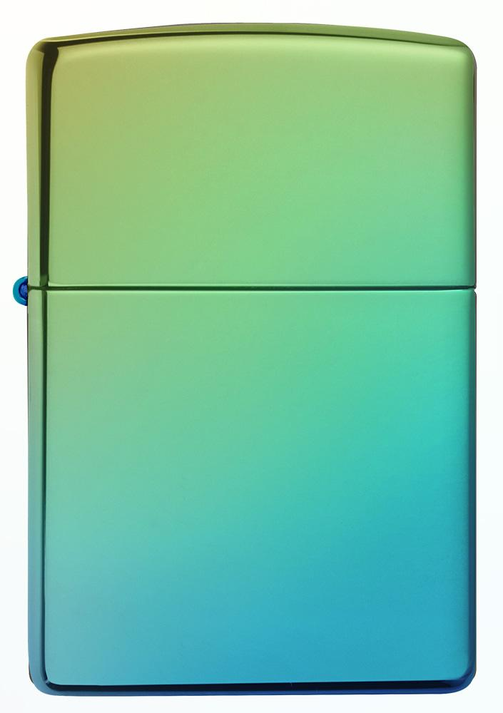 Front of High Polish Teal windproof lighter