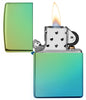 High Polish Teal windproof lighter with the lid open and lit