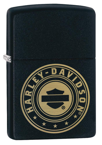 Harley-Davidson® Laser Engrave Logo Black Matte Lighter facing forward at a 3/4 angle
