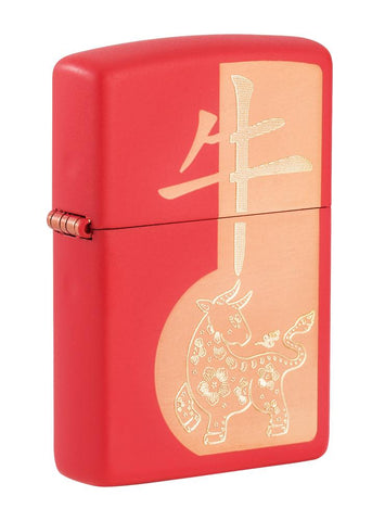 Front shot of Year of the Ox Red Matte Windproof Lighter standing at a 3/4 angle