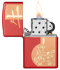 Year of the Ox Red Matte Windproof Lighter with its lid open and lit
