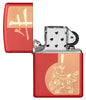 Year of the Ox Red Matte Windproof Lighter with its lid open and unlit