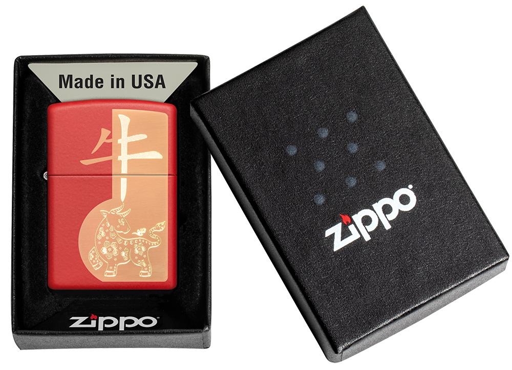 Year of the Ox Red Matte Windproof Lighter in its packaging