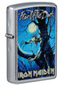 Front shot of Iron Maiden Fear of the Dark Windproof Lighter standing at 3/4 angle