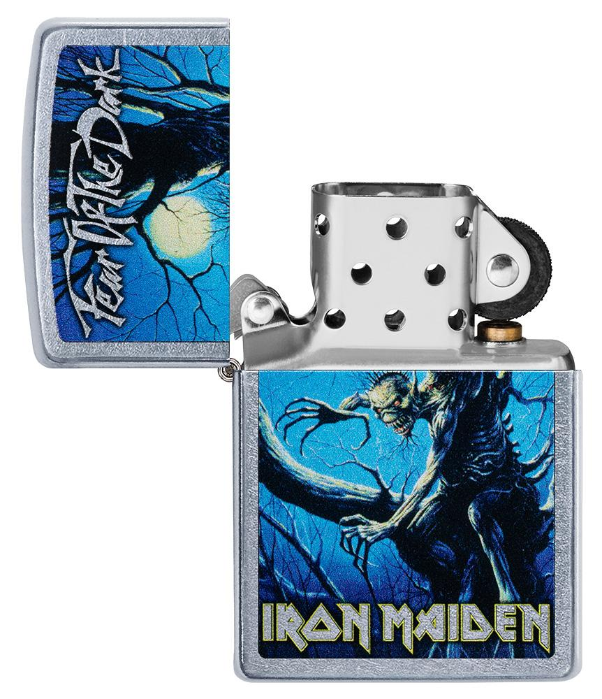 Iron Maiden Fear of the Dark Windproof Lighter with its lid open and unlit