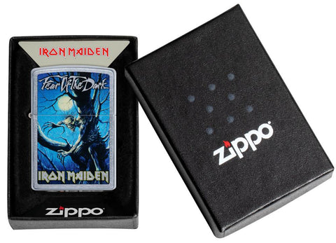 Iron Maiden Fear of the Dark Windproof Lighter in its packaging
