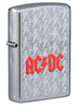 Front shot of AC/DC Lightning Logo Windproof Lighter standing at a 3/4 angle