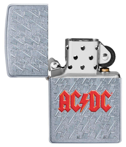 AC/DC Lightning Logo Windproof Lighter with its lid open and not lit