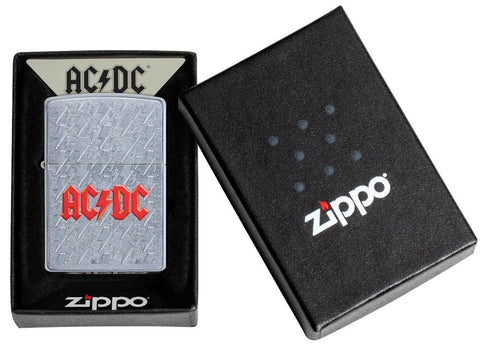 AC/DC Lightning Logo Windproof Lighter in its packaging