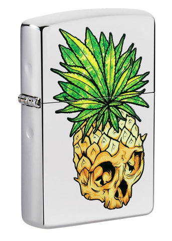 Front shot of Leaf Skull Pineapple Design Windproof Lighter standing at a 3/4 angle
