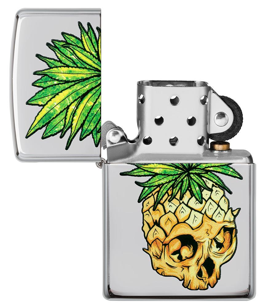 Leaf Skull Pineapple Design Windproof Lighter with its lid open and unlit