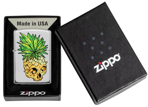 Leaf Skull Pineapple Design Windproof Lighter in its packaging