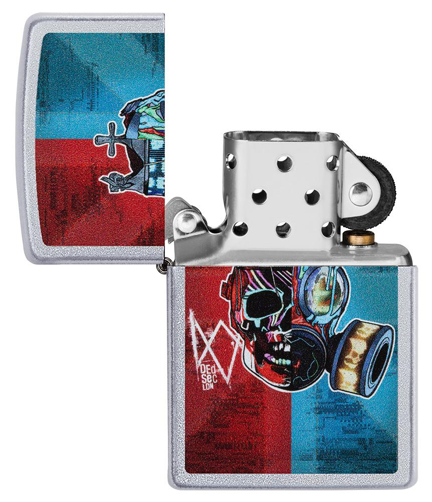 Watch Dogs: Legion DedSec Windproof Lighter with its lid open and not lit