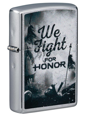 For Honor Battle Scene Windproof Lighter standing at a 3/4 angle