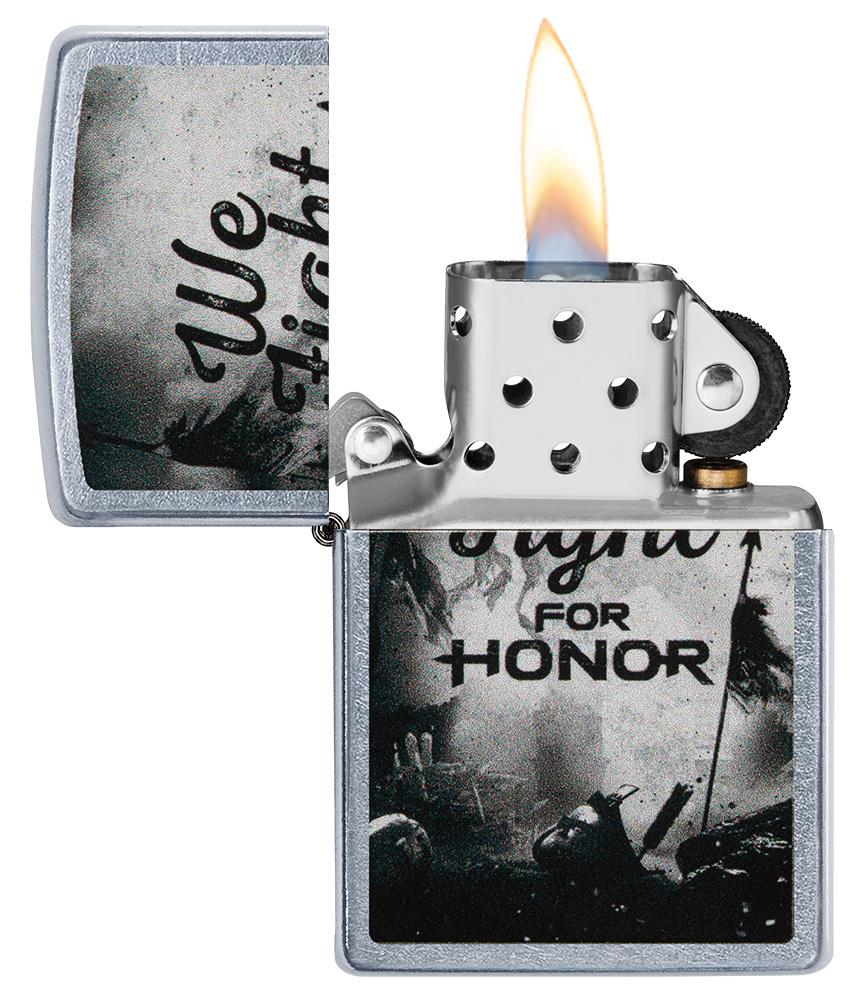 For Honor Battle Scene Windproof Lighter with its lid open and lit