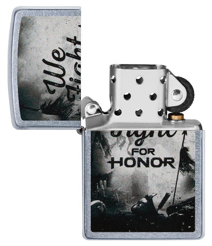 For Honor Battle Scene Windproof Lighter with its lid open and not lit