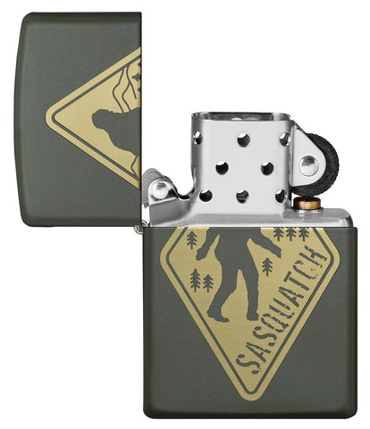 Sasquatch Crossing Windproof Lighter with its lid open and unlit