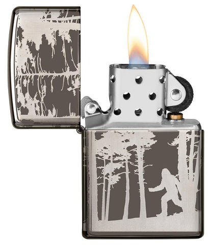 Squatchin' In The Woods 360° Design Windproof Lighter with its lid open and lit