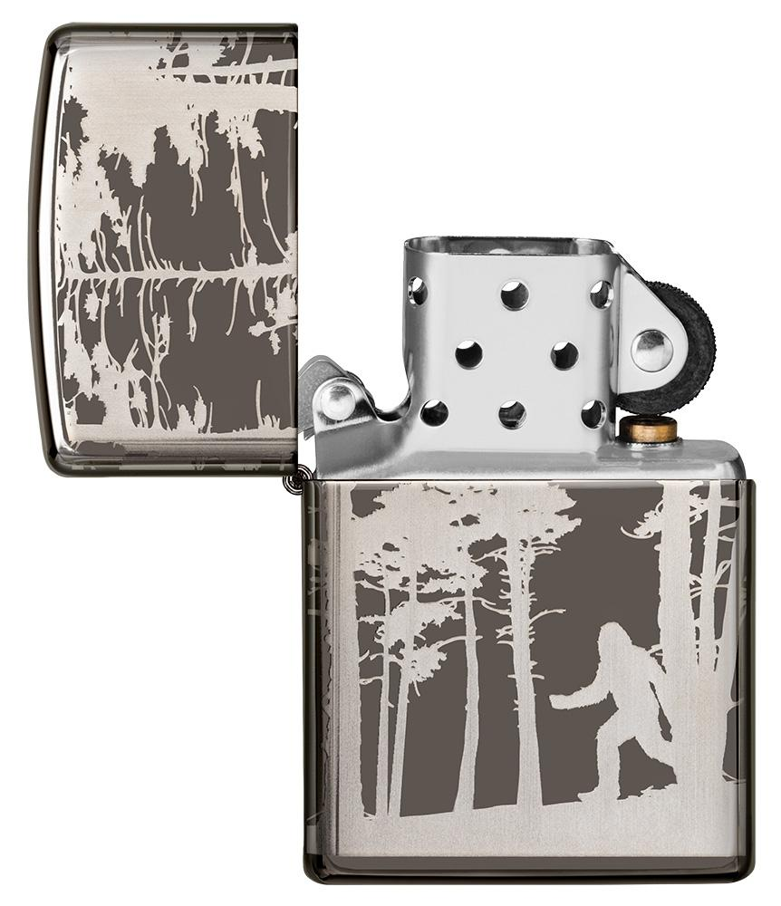 Squatchin' In The Woods 360° Design Windproof Lighter with its lid open and unlit