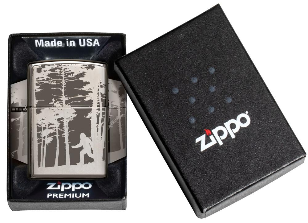 Squatchin' In The Woods 360° Design Windproof Lighter in its Premium packaging