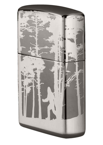Front of Squatchin' In The Woods 360° Design Windproof Lighter standing at an angle, showing the right side