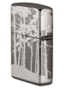Back of Squatchin' In The Woods 360° Design Windproof Lighter standing at an angle, showing the hinge side