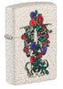 Front shot of Floral Skeleton Design Windproof Lighter standing at a 3/4 angle