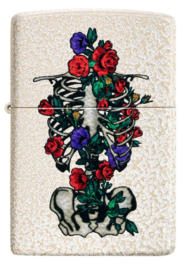 Front of Floral Skeleton Design Windproof Lighter