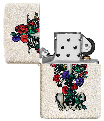 Floral Skeleton Design Windproof Lighter with its lid open and unlit