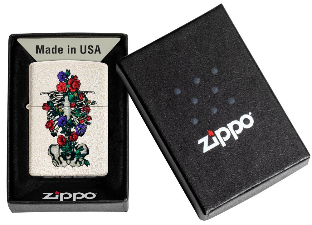 Floral Skeleton Design Windproof Lighter in its packaging
