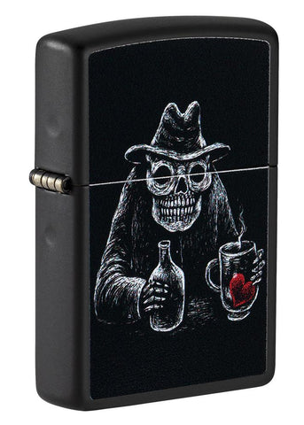Front shot of Bar Skull Design Windproof Lighter standing at a 3/4 angle