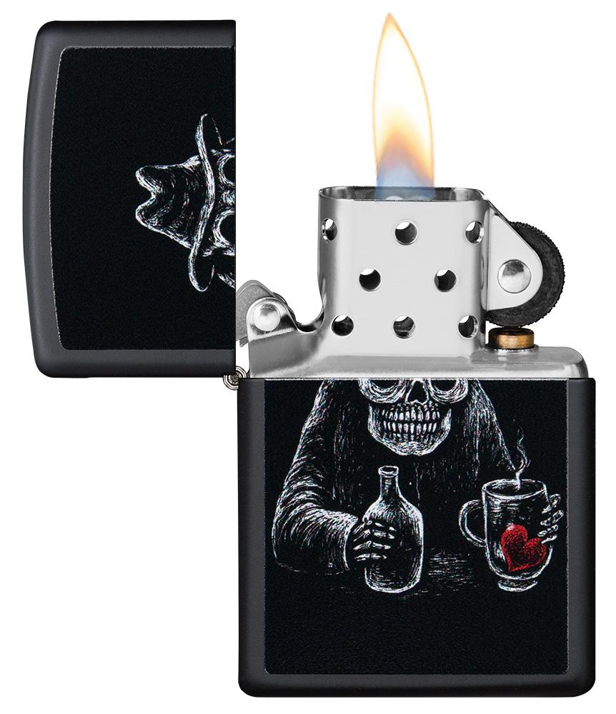 Bar Skull Design Windproof Lighter with its lid open and lit