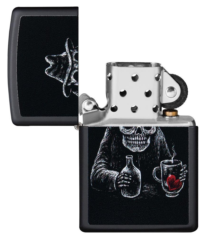 Bar Skull Design Windproof Lighter with its lid open and unlit