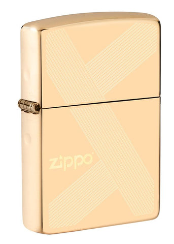 Front shot of Zippo Design Windproof Lighter standing at a 3/4 angle