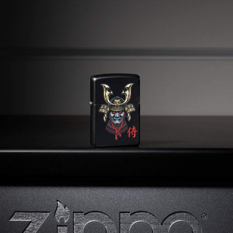 Lifestyle image of Samurai Helmet Design Windproof Lighter standing on a metal Zippo shelf