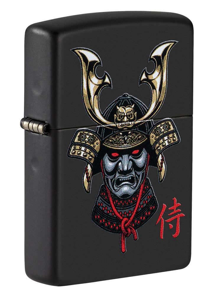 Front shot of Samurai Helmet Design Windproof Lighter standing at a 3/4 angle