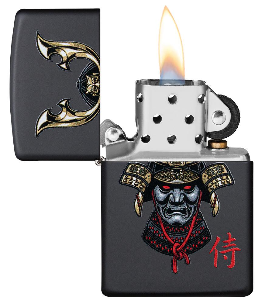 Samurai Helmet Design Windproof Lighter with its lid open and lit
