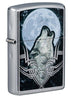 Front shot of Howling Wolf Design Windproof Lighter standing at a 3/4 angle