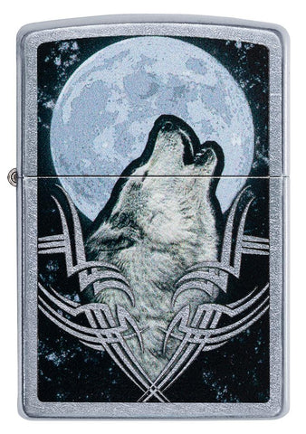 Front of Howling Wolf Design Windproof Lighter