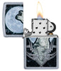 Howling Wolf Design Windproof Lighter with its lid open and lit